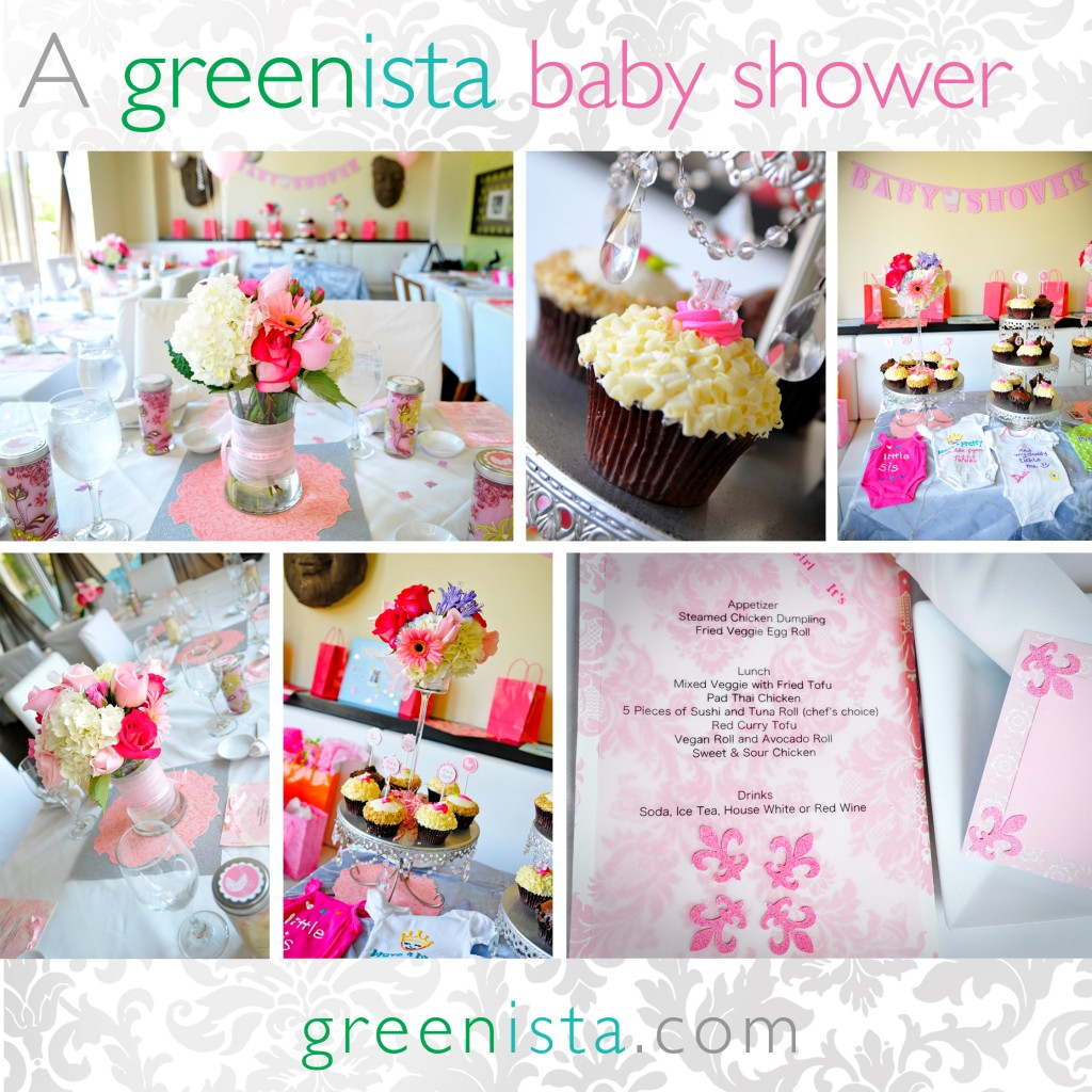 baby shower, pink and prams