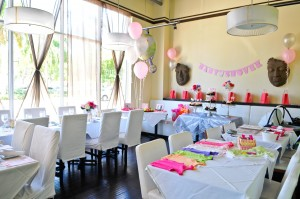 pink and pram theme baby shower